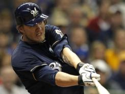 Corey Hart of the Milwaukee Brewers hits a two-run home run against the St. Louis Cardinals during the sixth inning of their game in Milwaukee. Hart, along with three other players around the league, had a multi-home run game. The Brewers be the Cardinals 6-0.