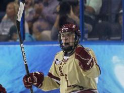 Johnny Gaudreau, celebrating his key goal Saturday, was second on the team in points this season as a freshman.