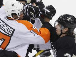 The Flyers and Penguins had a melee near the end of their April 1 game.