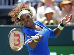 Serena Williams of the USA rolls to victory Sunday against Lucie Safarova of the Czech Republic in the final at the Family Circle Cup.