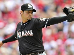 Marlins' Anibal Sanchez won his first start of the season throwing 6 1/3 sharp innings against the Phillies.