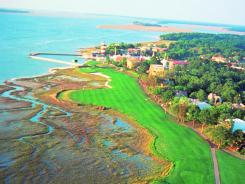 An aerial of the 18th hole of Harbour Town Golf Links.