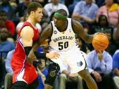 Memphis Grizzlies power forward Zach Randolph, right, is still being eased back into the offense after his lengthy absence from a right knee injury.