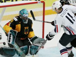 Paul Stastny plays for the USA against Germany during the 2007 world championships.
