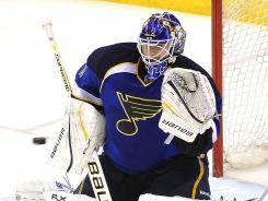 St. Louis Blues goalie Brian Elliott is day-to-day with an upper-body injury.