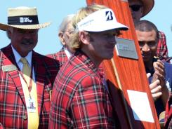 Brandt Snedeker wears the plaid jacket awarded to the champion of the RBC Heritage.