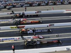 Four-wide drag racing will take place this weekend at zMax Dragway.
