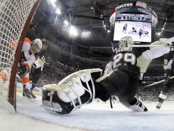 FLYERS overcome 3-0 deficit, beat Penguins in OT