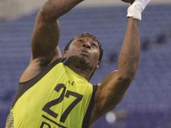 North Alabama defensive back Janoris Jenkins runs a drill at the NFL football scouting combine.