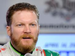Dale Earnhardt Jr. speaks at the spiffy media center at Texas Motor Speedway.
