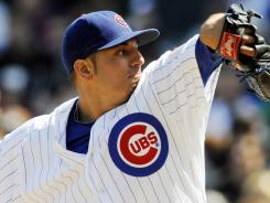 Chicago pitcher Matt Garza (22) delivers against the Milwaukee Brewers at Wrigley Field.