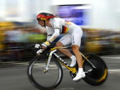 Germany's Tony Martin competes on July 3, 2010 in the individual time-trial run around Rotterdam during the Tour de France.