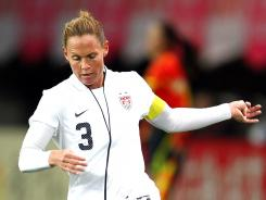 Christie Rampone of the United States dribbles the ball during an international friendly vs. Japan on April 1 in Sendai, Japan.
