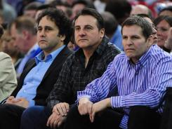 Sacramento Kings owner George Maloof (left), with brothers and fellow owners Gavin Maloof (center), and Joe Maloof (right), said the city of Sacramento hasn't responded to his 14 questions and objections after he went through the initial term sheet for a proposed new arena.