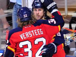 Winger Kris Versteeg, a Cup winner in 2010, is among the Florida Panthers with playoff experience.