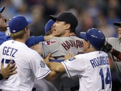 Indians third baseman Jack Hannahan, center, was one of three people ejected during a bench-clearing scuffle in the bottom of the third inning.