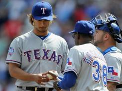 Yu Darvish worked 5 2/3 innings before Rangers manager Ron Washington removed him from the game. It went into the books as a no-decision for Darvish in his second Texas start.