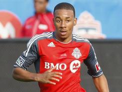 Toronto FC midfielder Reggie Lambe (19) controls the ball against Chivas USA. Toronto lost 1-0 and remains winless at 0-5-0.