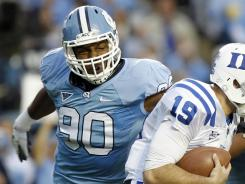 Quinton Coples led North Carolina with 7.5 sacks last season despite moving to the right side of the defensive line.