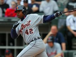 Tigers left fielder Delmon Young wears a Jackie Robinson commemorative jersey.
