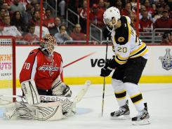 The Bruins' Daniel Paille scored a second-period goal on Capitals rookie Braden Holtby to help Boston win 4-3.
