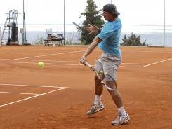 Rafael Nadal lines up a forehand during a training session before the Monte Carlo Tennis Masters.