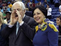 Prospective New Orleans Hornets owner Tom Benson and his wife, Gayle, attended Sunday's home game vs. the Memphis Grizzlies. The Hornets won 88-75.