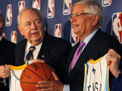 NBA Commissioner David Stern, right, and New Orleans Saints owner Tom Benson pose at a news conference announcing New Orleans has been awarded the 2014 All-Star game.