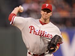 Roy Halladay pitched eight innings of two-run ball to win his third straight start to begin the season.