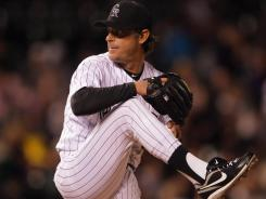 Rockies starter Jamie Moyer pitched seven strong innings against the Padres on Tuesday to become the oldest player to win a Major League Baseball game.