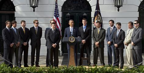 President Barack Obama honors NASCAR drivers (from left) Kurt Busch, Denny Hamliin, Dale Earnhardt Jr., Brad Keselowski, Kevin Harvick, Tony Stewart, Carl Edwards, Matt Kenseth, Jimmie Johnson, Jeff Gordon, Ryan Newman and Kyle Busch Tuesday.