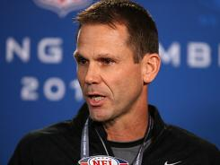 49ers GM Trent Baalke speaks at the 2012 NFL scouting combine.