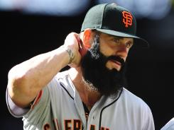 Giants closer Brian Wilson led the National League in saves in 2010.