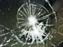 A shattered windshield.