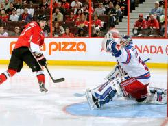 The Senators' Kyle Turris was denied by Rangers goalie Henrik Lundqvist on this Game 4 shot, but would have the last laugh by scoring the game-winner in overtime. The series is tied at two games apiece.