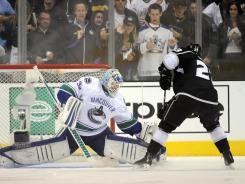 Among Canucks goalie Cory Schneider's 43 saves was this gem against the Kings' Dustin Brown on a penalty shot in the third period.