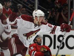 The Phoenix Coyotes' Mikkel Boedker celebrates his game-winning goal in overtime against the Chicago Blackhawks in Game 4 of the Western Conference quarterfinals at the United Center in Chicago on Thursday night. The Coyotes defeated the Blackhawks 3-2 to take a 3-1 series lead.