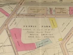 This detail of Plate 33 of the 1912 Atlas for the City of Boston Proper and Back Bay showss plans for Fenway Park.