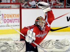 Washington Capitals goalie Braden Holtby makes a save against the Boston Bruins Thursday night.