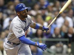 Dodgers' Matt Kemp connects on his major league lead seventh home run against the Brewers.