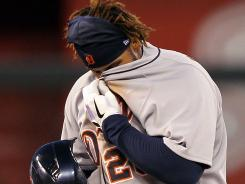 Prince Fielder shakes out some dirt after a stolen base Wednesday. It was the 17th of his career.