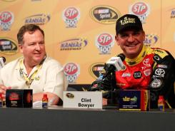 Scott Henderson, President of 5-hour Energy, and Clint Bowyer, driver of the #15 Toyota, speak at press conference announcing that 5-hour Energy will be the lead sponsor for the #15 car for all but one of the remaining races this season.