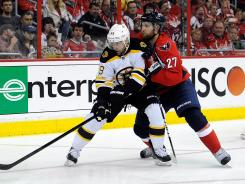 Boston's Rich Peverley and Washington's Karl Alzner battle for the puck in Game 4 of the Eastern Conference quarterfinal.