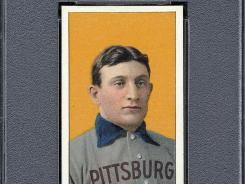 An example of a 1909 Honus Wagner trading card.