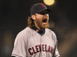 Closing pitcher Chris Perez reacts after defeating the Seattle Mariners on April 17.