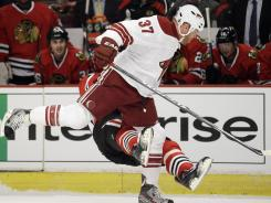 Phoenix's Raffi Torres was suspended for this hit on Chicago's Marian Hossa during their game on April 17.
