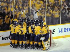 The Predators and the hometown fans were all smiles after eliminating the Red Wings.