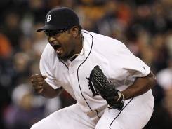Detroit Tigers relief pitcher Jose Valverde celebrates the final out against the Texas Rangers in the second game of a doubleheader between the two teams. The Tigers won the second game 3-2.