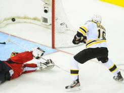 Boston Bruins center Tyler Seguin scores the game-winning goal on Washington Capitals goalie Braden Holtby Sunday.