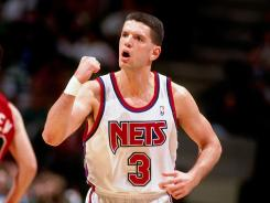 Former New Jersey Nets player Drazen Petrovic pumps his fist after a made three-pointer in the 1992 season. He died in 1993.